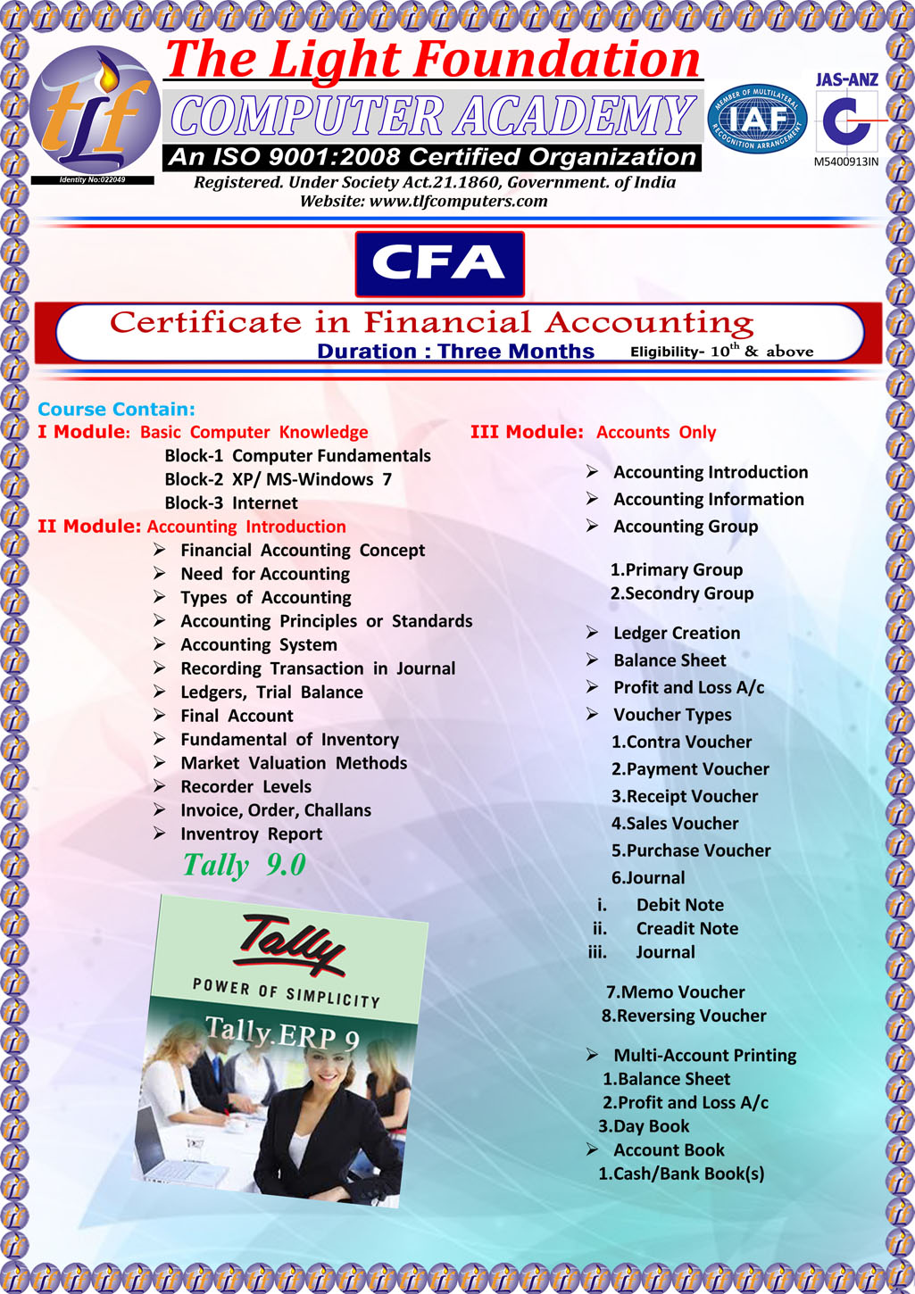 Tlf Computers Courses Certificate In Financial Accountingcfa