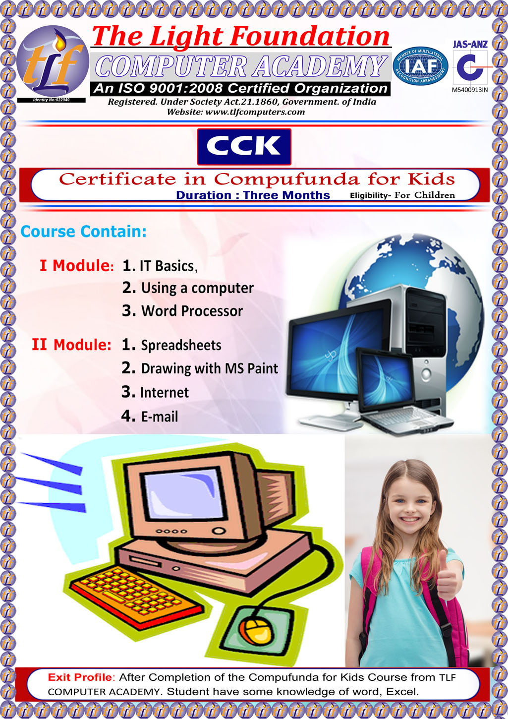 TLF Computers- Courses | Certificate in Compufunda for Kids(CCK)